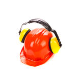 Hard hat with ear muffs. Stock Images