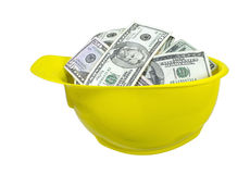 Hard Hat Full of Money Stock Photography