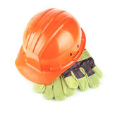Hard hat with gloves Royalty Free Stock Images