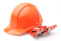 Hard hat and gloves Royalty Free Stock Image