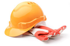 Hard hat and gloves Stock Photography