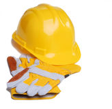 Hard hat and Gloves Stock Photo