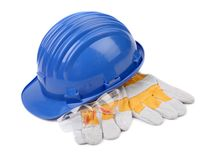 Hard hat gloves and glasses. Royalty Free Stock Image