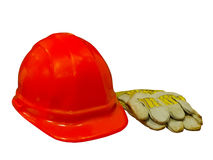 Hard hat and gloves Royalty Free Stock Photos
