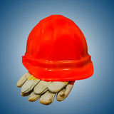 Hard hat and gloves Royalty Free Stock Images