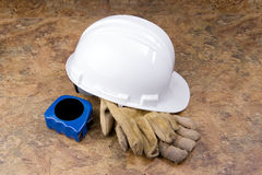 Hard Hat Gloves and Tape Measure Stock Images