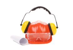 Hard hat, goggles and ear muffs isolated Royalty Free Stock Photo