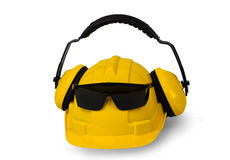 Hard hat, goggles and ear muffs isolated Stock Photography