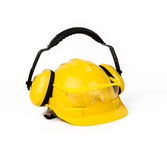 Hard hat, goggles and ear muffs isolated Stock Photos