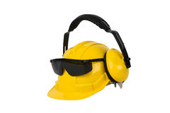 Hard hat, goggles and ear muffs  Royalty Free Stock Images