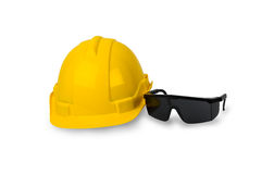 Hard hat and goggles isolated Stock Image