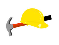 Hard Hat and Hammer Stock Photography