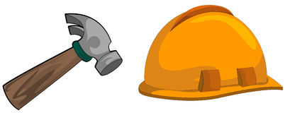 Hard hat and hammer Royalty Free Stock Photos