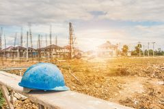 Hard hat on house building construction site Stock Image