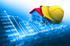 Hard hat with house Stock Photo