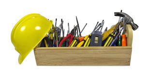 Hard Hat and Long Wooden Toolbox Royalty Free Stock Image