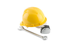 Hard Hat and Measure tape on white background. Stock Images