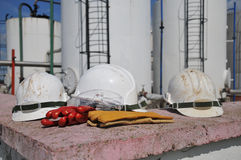 Hard hat protection helmet. Gloves and glasses Stock Photography