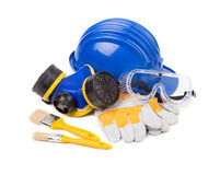 Hard hat and protective goggles. Royalty Free Stock Photography