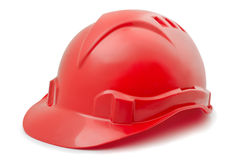 Hard hat. Red plastic hard hat isolated on white Stock Image