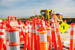Hard Hat on Road highway construction pylon Royalty Free Stock Images