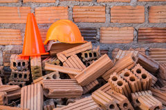 Hard hat safety helmet and cone Royalty Free Stock Photography
