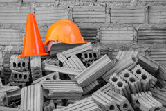 Hard hat safety helmet and cone Royalty Free Stock Photos