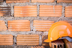 Hard hat safety helmet in construction site Royalty Free Stock Photos