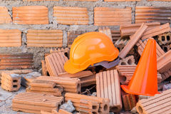 Hard hat safety helmet in construction site Stock Photo