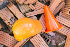 Hard hat safety helmet in construction site Royalty Free Stock Image