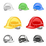 Hard hat, safety helmet set, building, under conctruction vector Royalty Free Stock Photo