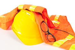 Hard hat and safety vest Royalty Free Stock Photos