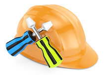 Hard hat and screwdrivers Stock Photos