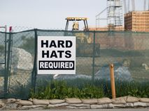 Hard Hat Sign. Construction site hard hat sign Royalty Free Stock Photo