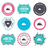 Hard hat sign icon. Construction helmet symbol. Label and badge templates. Hard hat sign icon. Construction helmet symbol. Retro style banners, emblems. Vector Stock Images