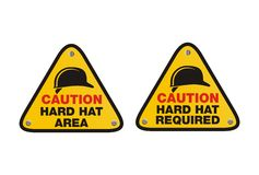 Hard hat sign - triangle signs Stock Photo