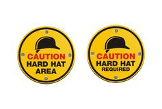 Hard hat signs - round signs Royalty Free Stock Photography