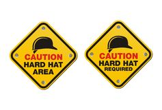 Hard hat signs - square signs Royalty Free Stock Photo