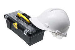 Hard Hat and Tool Box Stock Photography