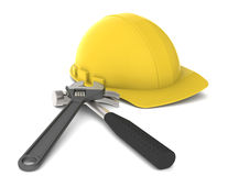 Hard Hat and tools. Yellow Hard Hat with tools. Wrench and Hammer Stock Image