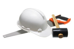 Hard Hat and Tools Royalty Free Stock Photos