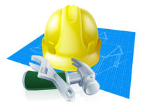 Hard hat tools and blueprint Royalty Free Stock Photography