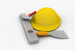 Hard hat with tools Royalty Free Stock Photography