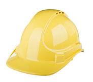 Hard Hat. Used on construction site in  yellow colour isolated on white Royalty Free Stock Photo