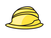 Hard hat vector icon symbol yellow Stock Photography