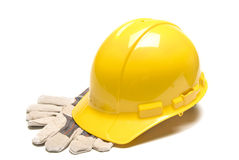 Hard Hat With Work Gloves Revised Stock Photo