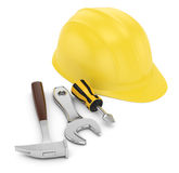 Hard hat and work tools. On white. 3d rendered image Royalty Free Stock Photo