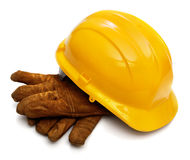 Hard hat and workers gloves Royalty Free Stock Photo