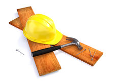 Hard hat and working tools. Construction concept royalty free illustration