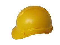Hard hat in yellow. For constuction workers Royalty Free Stock Images